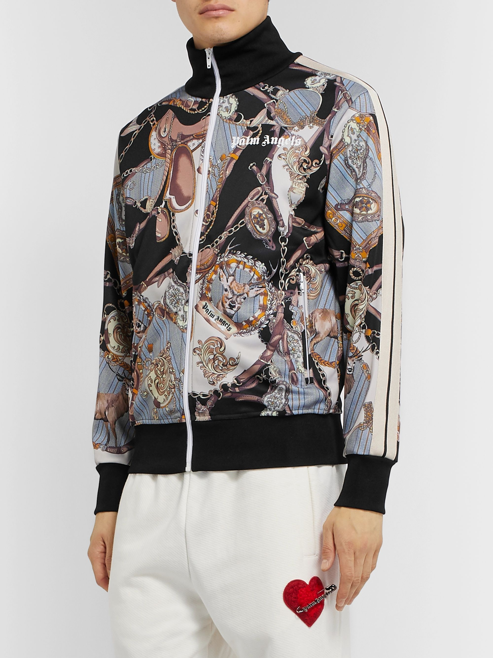 Palm Angels Striped Printed Tech-Jersey Track Jacket