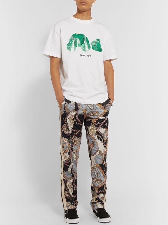 Palm Angels Stripe-Trimmed Printed Tech-Jersey Sweatpants