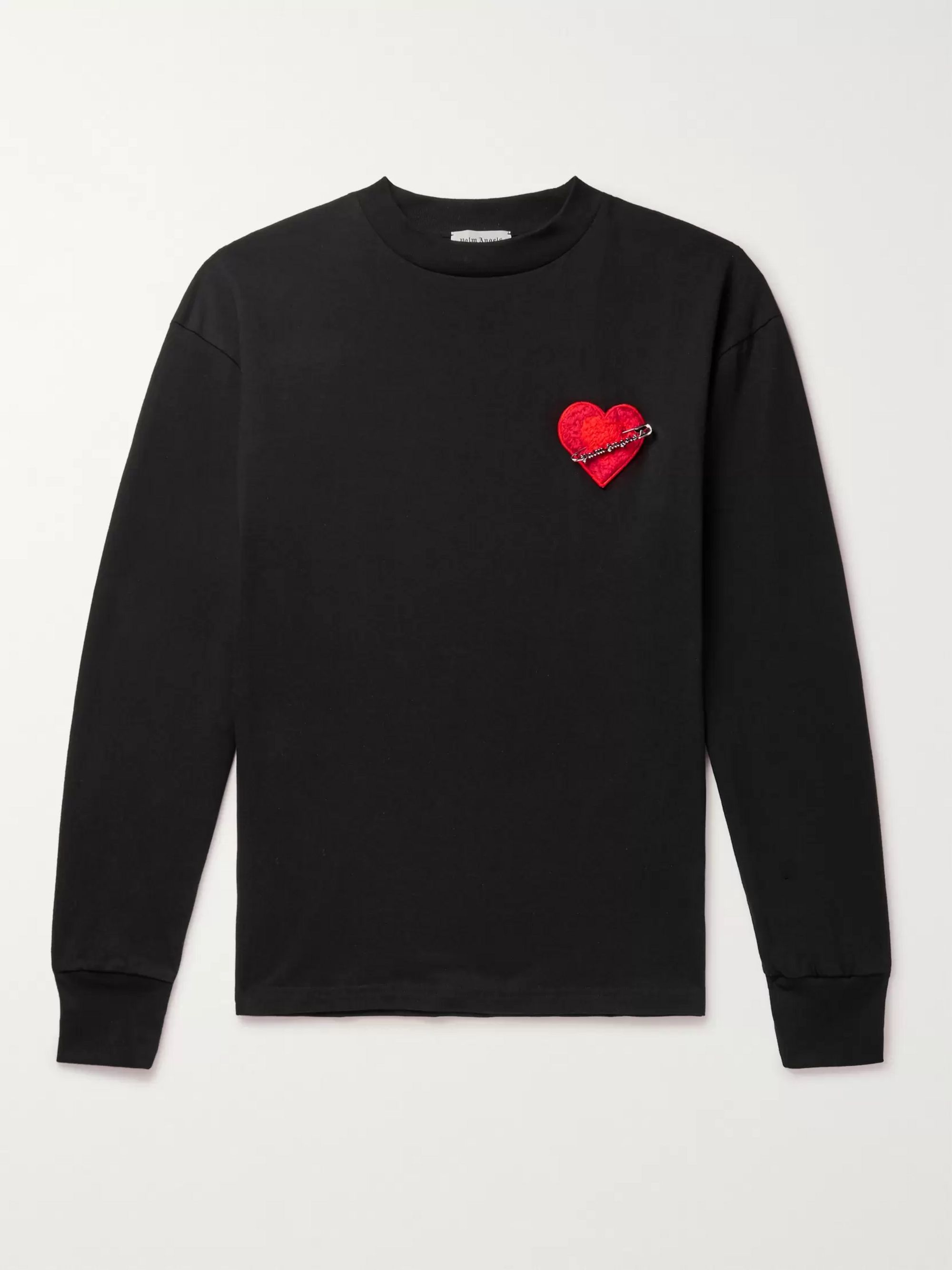 Palm Angels Pin My Heart Appliquéd Loopback Cotton-Jersey T-Shirt