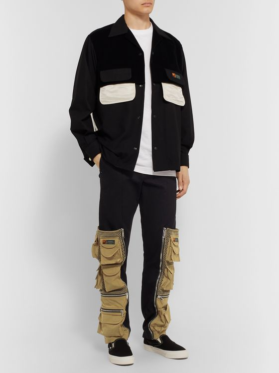 PALM ANGELS Panelled Cotton-Twill Cargo Trousers