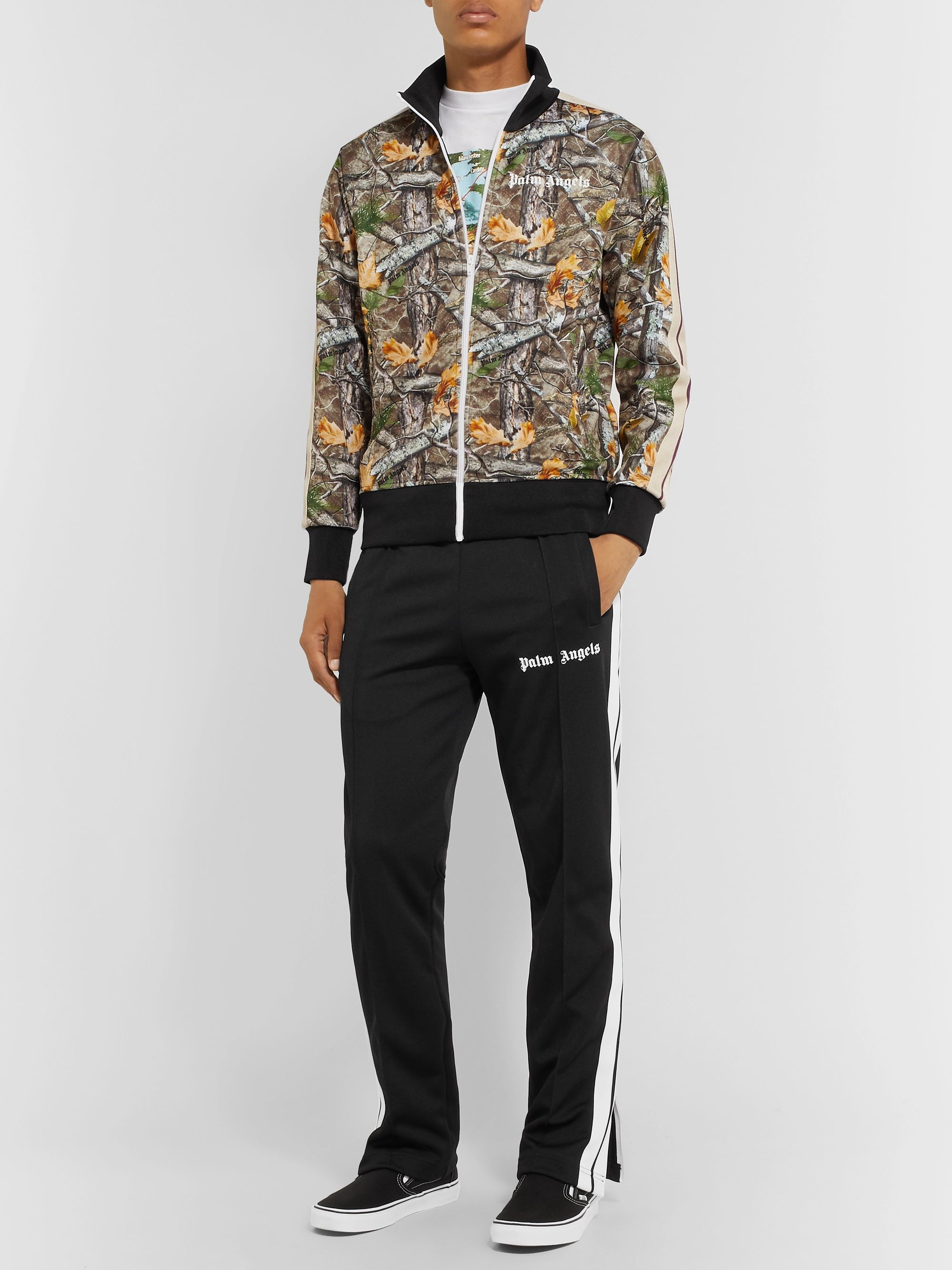 Palm Angels Slim-Fit Stripe-Trimmed Printed Tech-Jersey Track Jacket