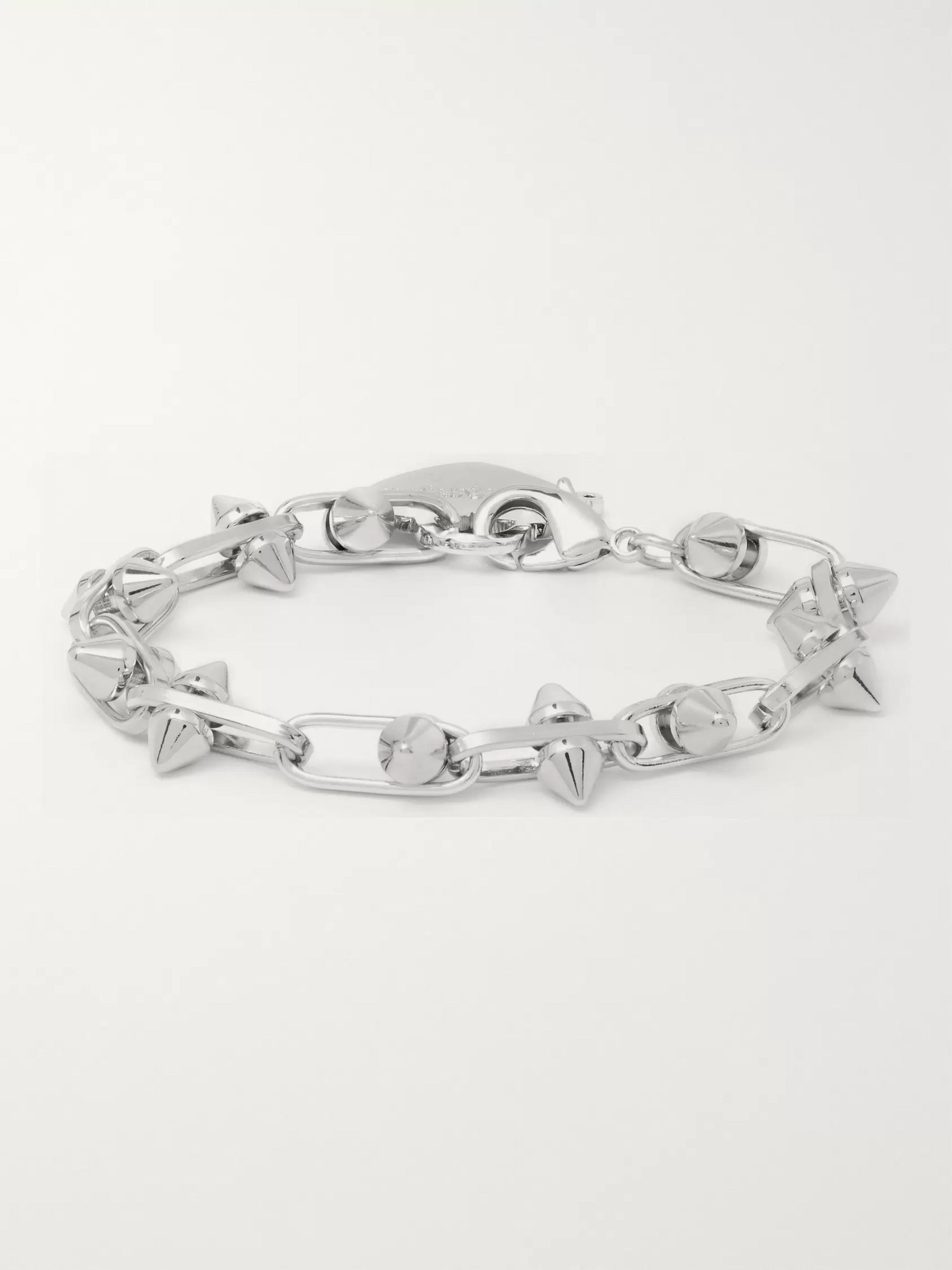 Palm Angels Pin My Heart Studded Silver-Tone Bracelet