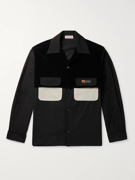 PALM ANGELS Panelled Cotton-Corduroy and Woven Overshirt