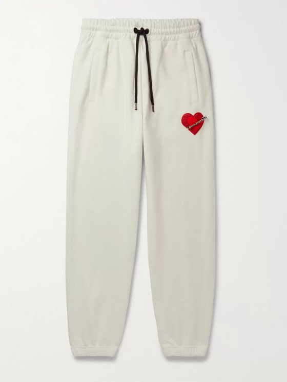 PALM ANGELS Pin My Heart Appliquéd Loopback Cotton-Jersey Sweatpants