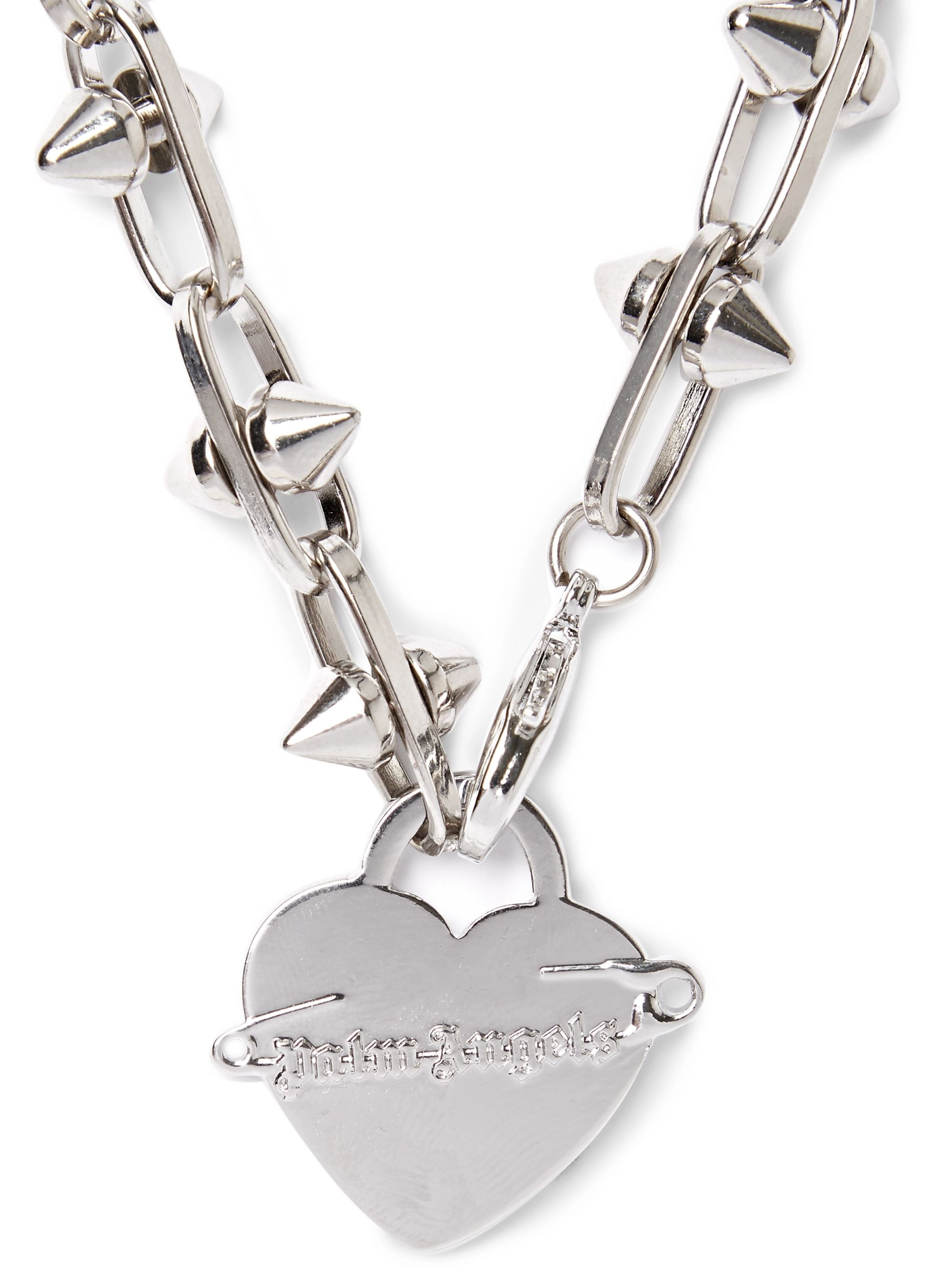 Palm Angels Pin My Heart Studded Silver-Tone Necklace