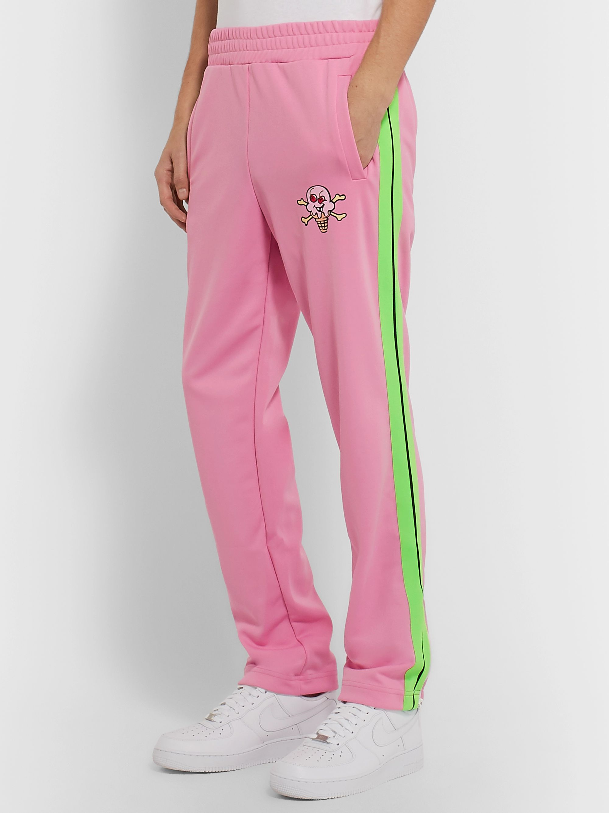 Palm Angels + ICECREAM Striped Printed Tech-Jersey Track Pants