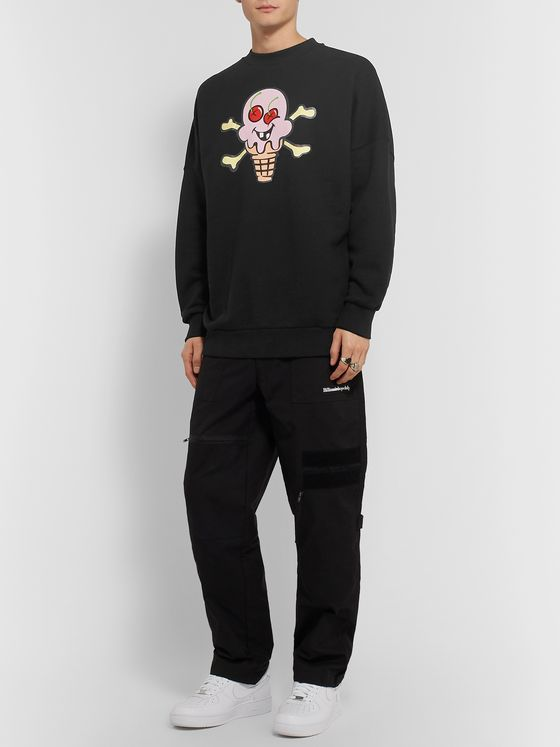 PALM ANGELS + ICECREAM Printed Loopback Cotton-Jersey Sweatshirt
