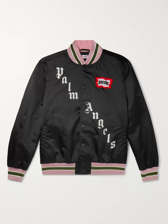 PALM ANGELS + ICECREAM Glittered Webbing-Trimmed Embellished Satin Bomber Jacket