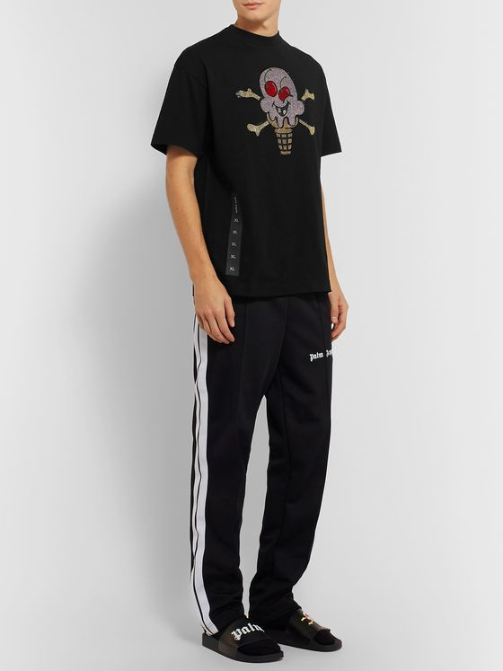 PALM ANGELS + ICECREAM Crystal-Embellished Printed Cotton-Jersey T-Shirt