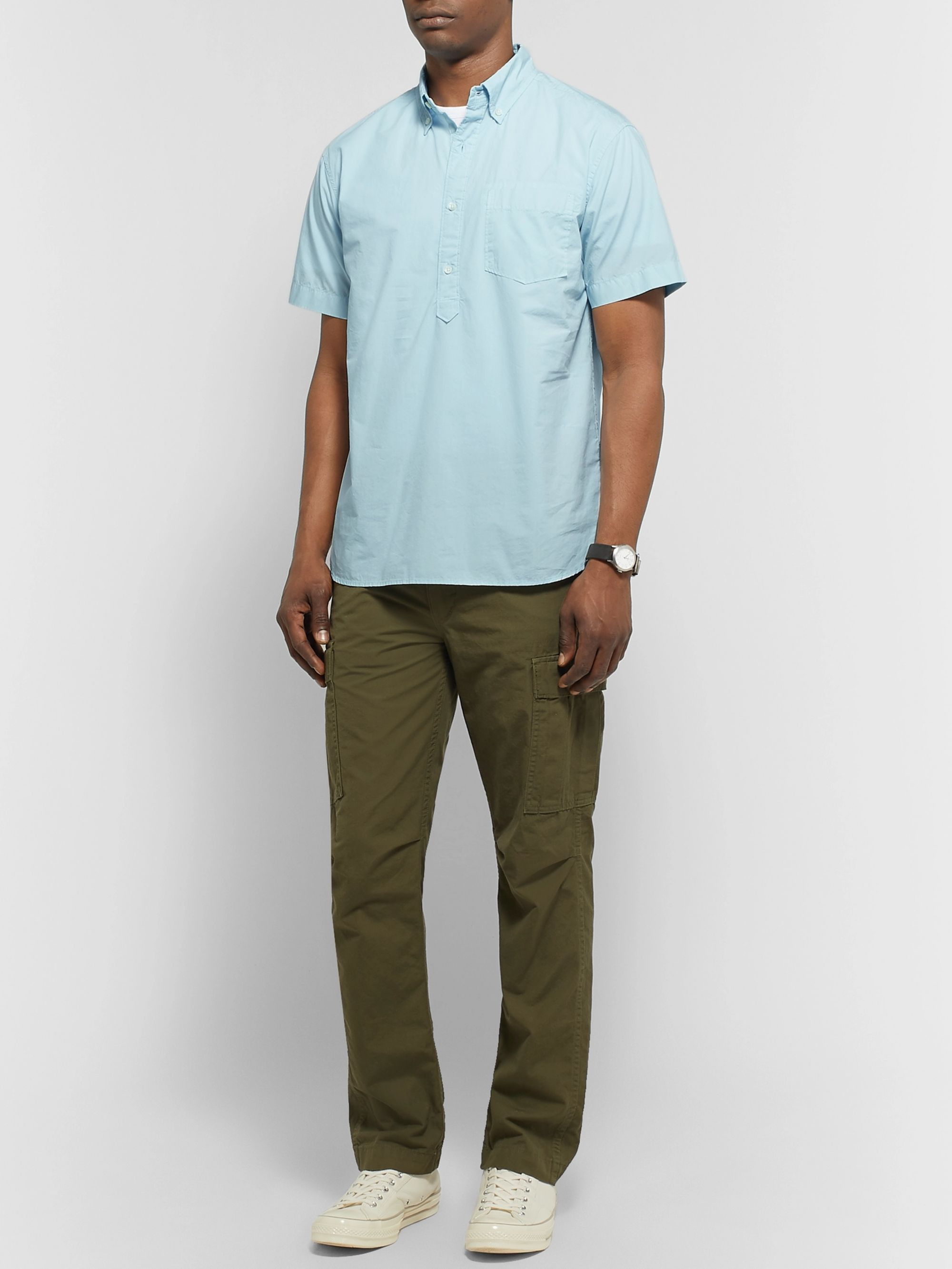 Alex Mill Button-Down Collar Cotton Half-Placket Shirt