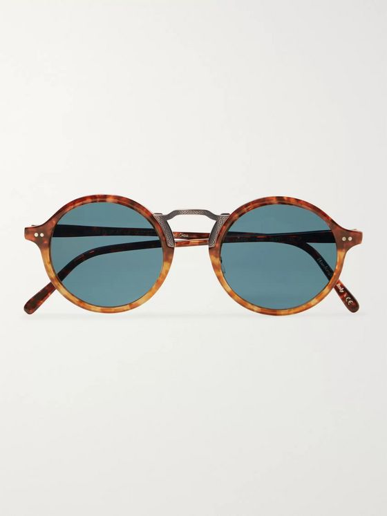 Oliver Peoples Kosa Round-Frame Tortoiseshell Acetate and Gold-Tone Polarised Sunglasses