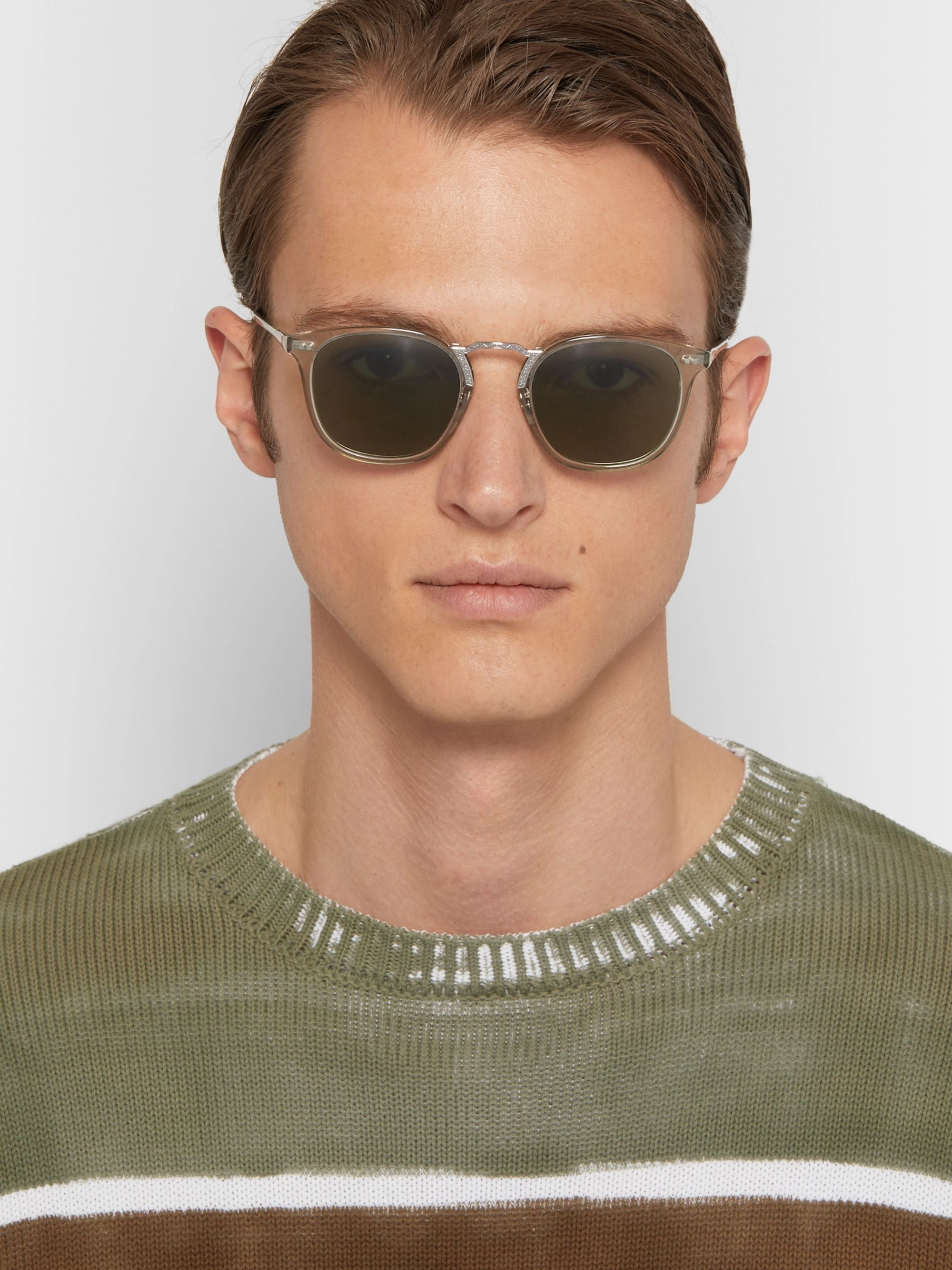 Oliver Peoples Roone D-Frame Acetate and Silver-Tone Sunglasses