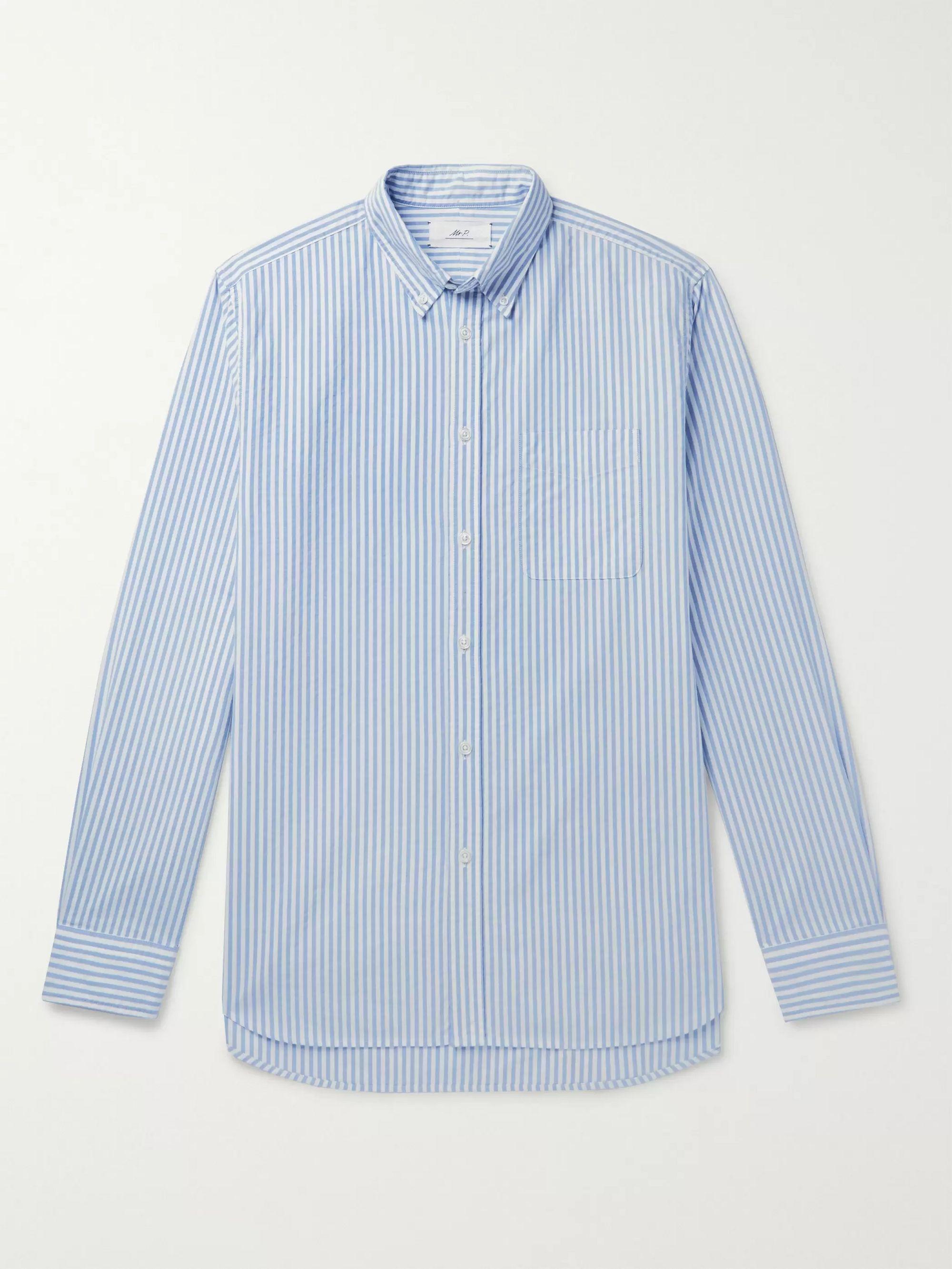 button-down-collar-striped-cotton-oxford-shirt by mr-p