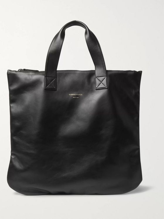 Common Projects Logo-Print Leather Tote Bag