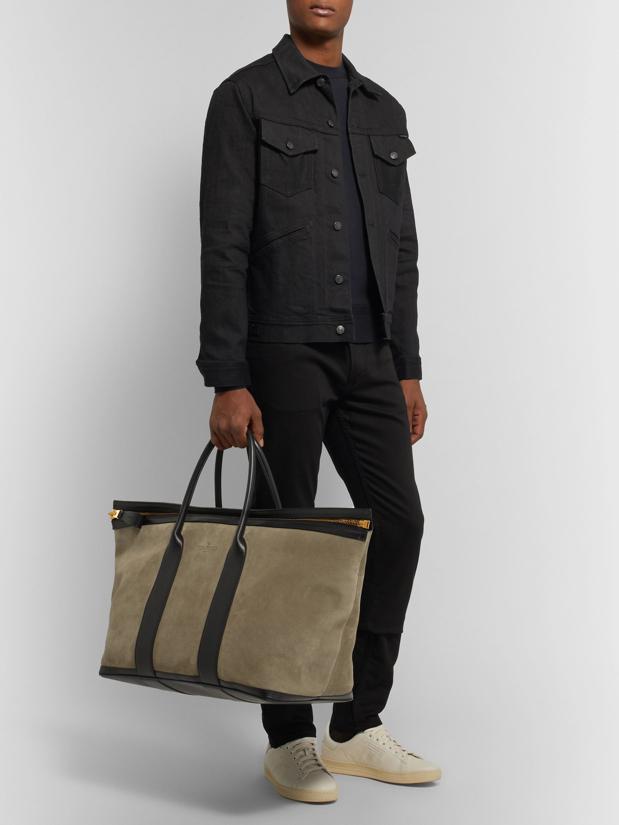 TOM FORD Leather-Trimmed Suede Holdall