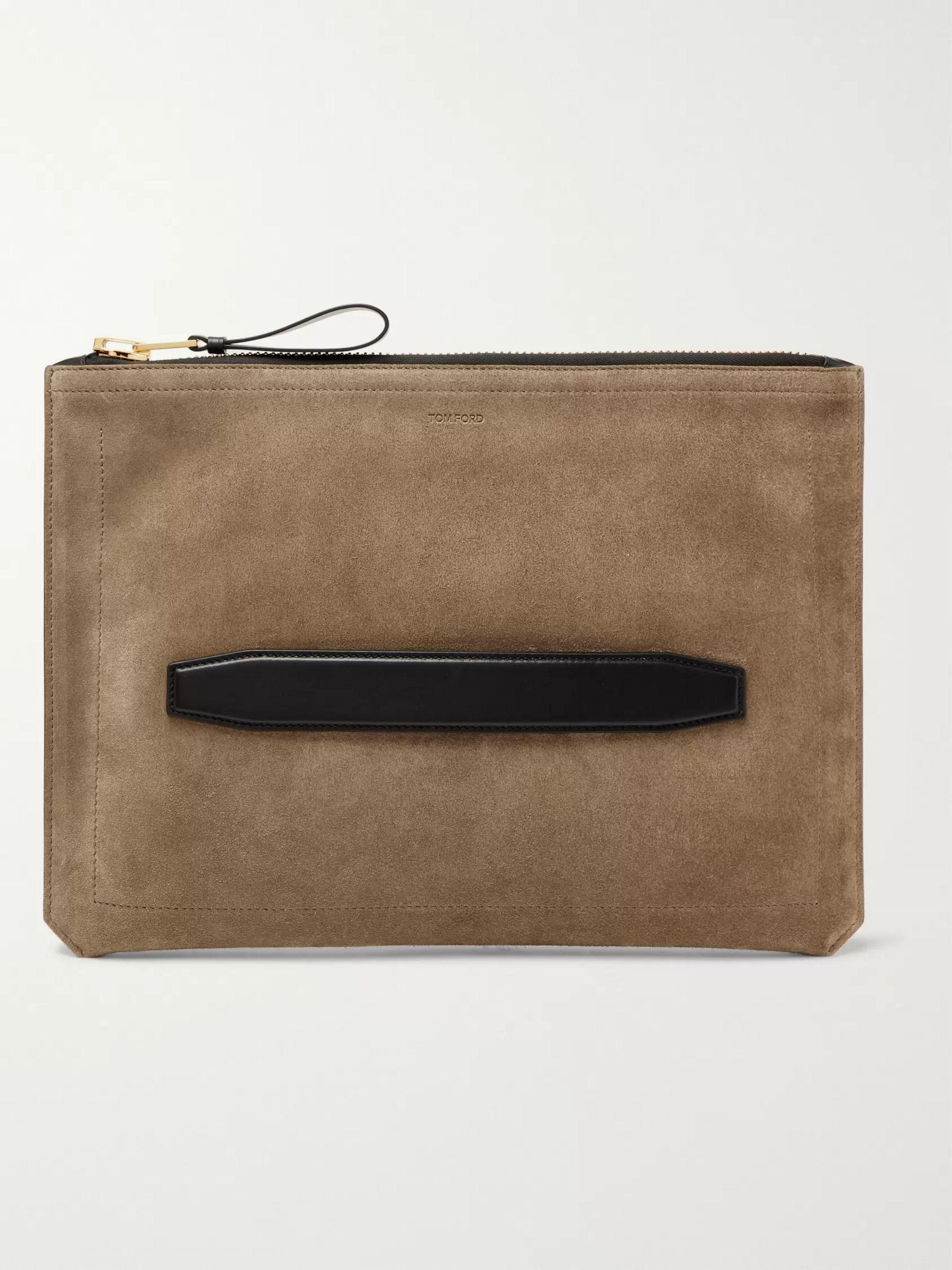 Leather Trimmed Suede Pouch by Tom Ford