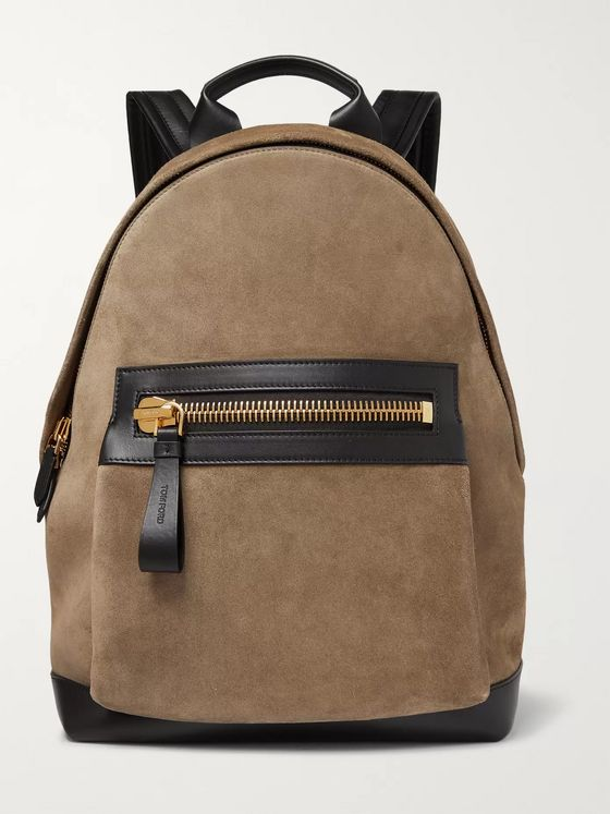 TOM FORD Suede and Leather Backpack