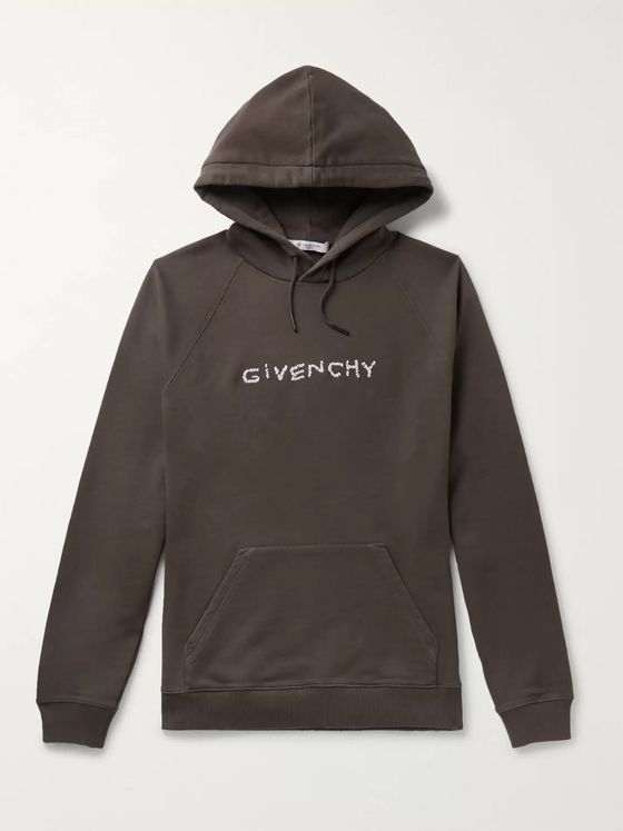 Givenchy Logo-Emboidered Loopback Cotton-Jersey Hoodie