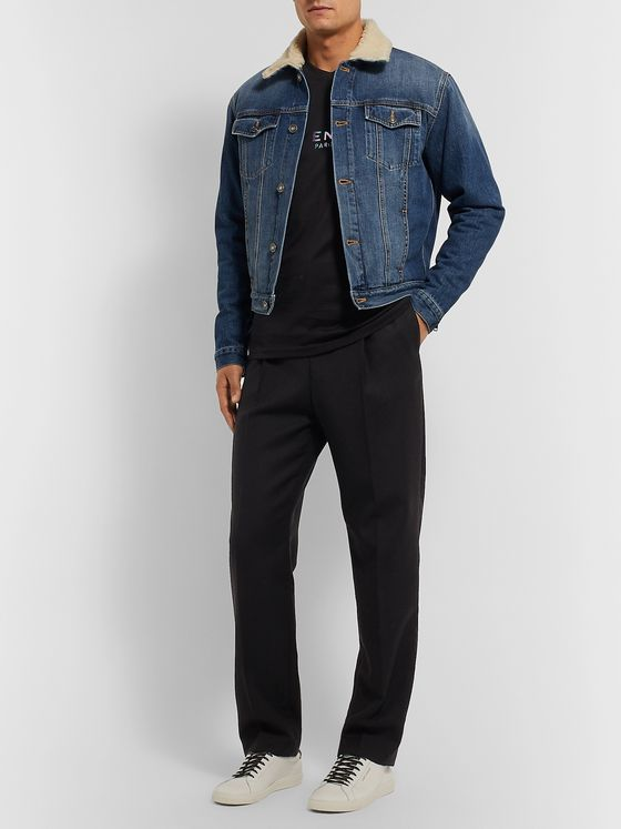 Givenchy Slim-Fit Shearling-Trimmed Denim Jacket