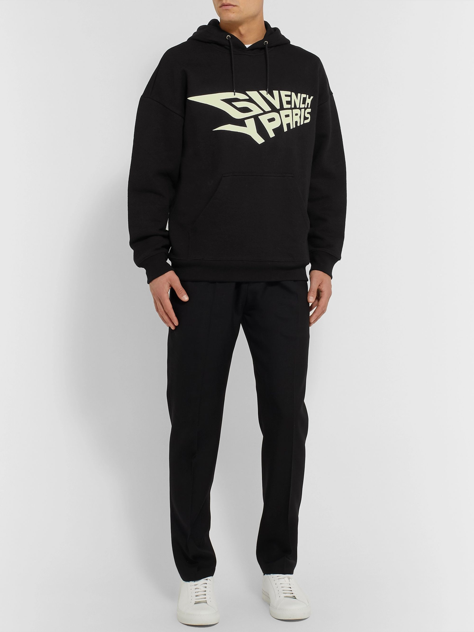 Givenchy Glow-in-the-Dark Logo-Print Loopback Cotton-Jersey Hoodie