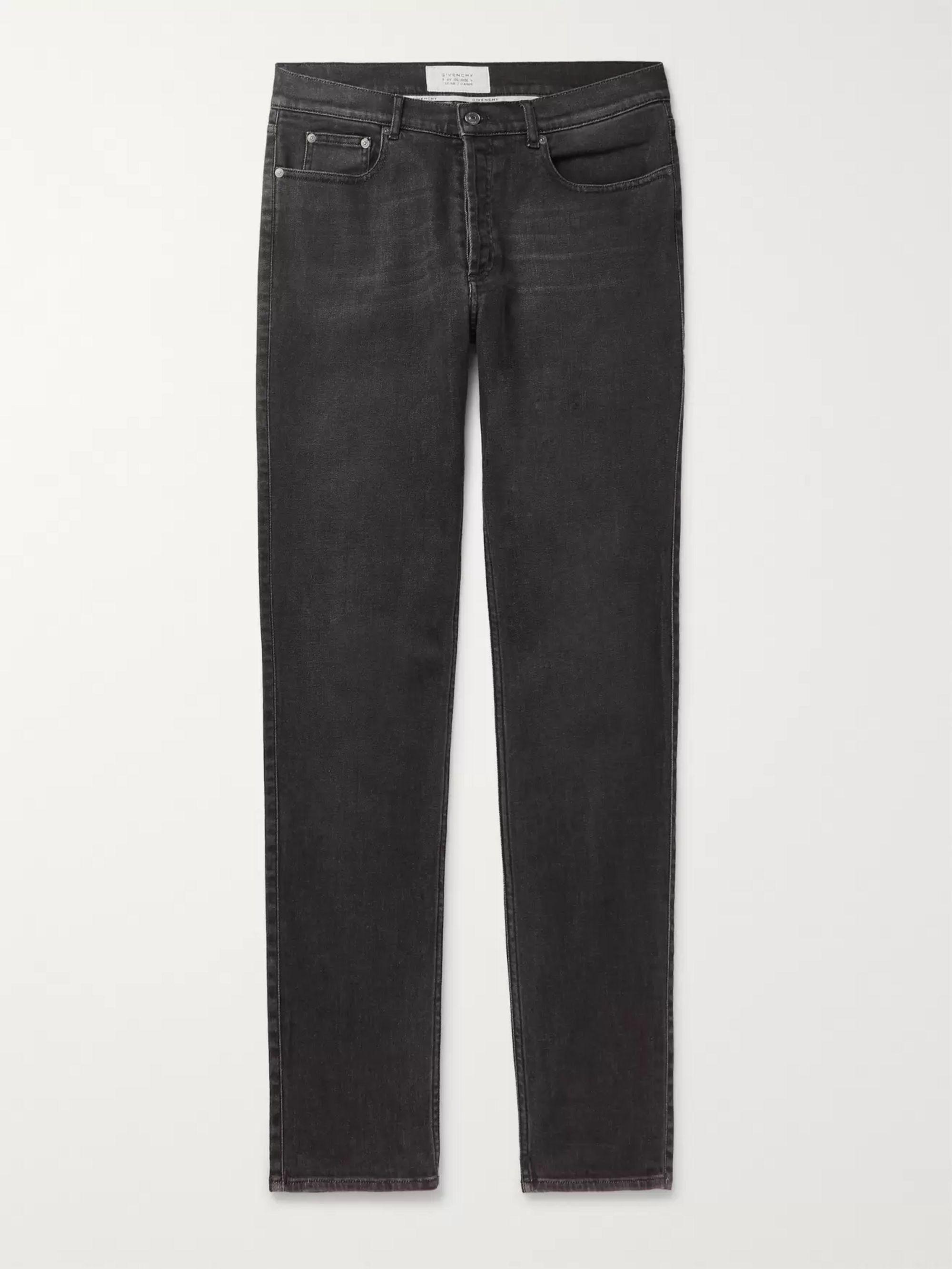 지방시 Givenchy Charcoal Slim-Fit Stretch-Denim Jeans,Charcoal