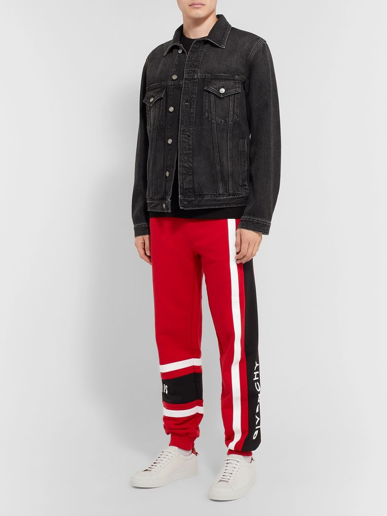 Givenchy Slim-Fit Tapered Logo-Embroidered Striped Loopback Cotton-Jersey Sweatpants