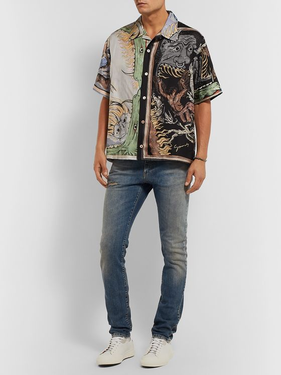 Givenchy Camp-Collar Printed Silk-Twill Shirt
