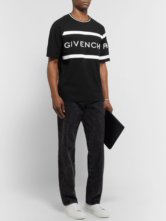 Givenchy Slim-Fit Logo-Embroidered Striped Cotton-Jersey T-Shirt