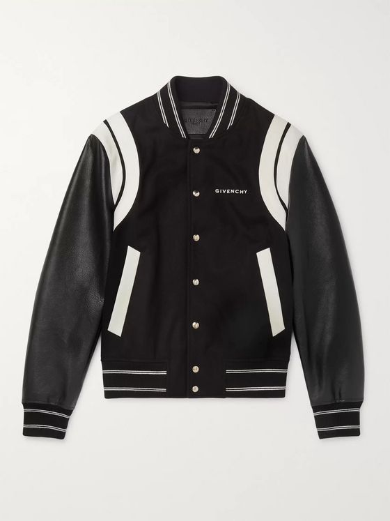 Givenchy Logo-Print Leather and Wool Bomber Jacket