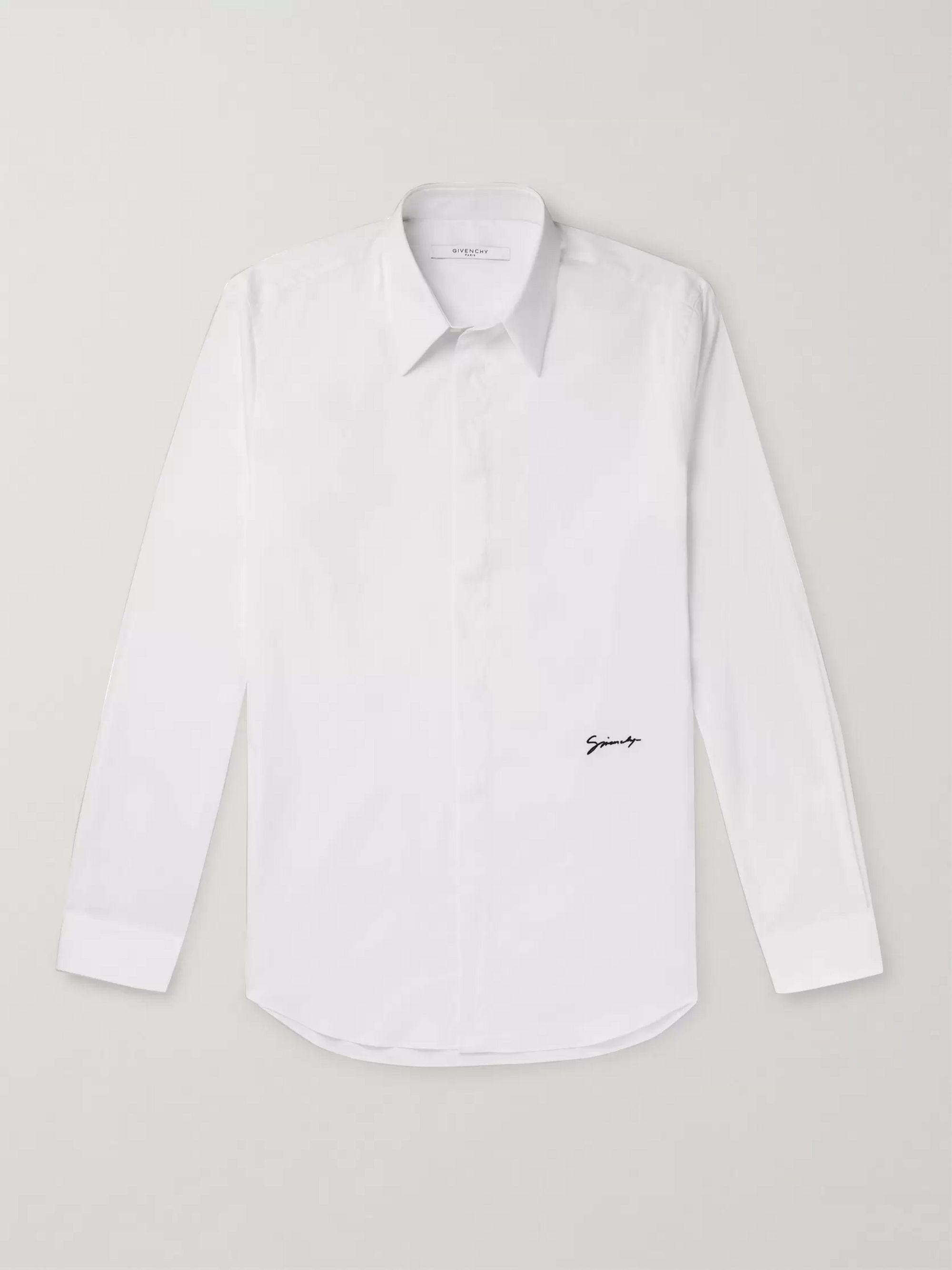 Givenchy Slim-Fit Logo-Embroidered Cotton-Blend Poplin Shirt