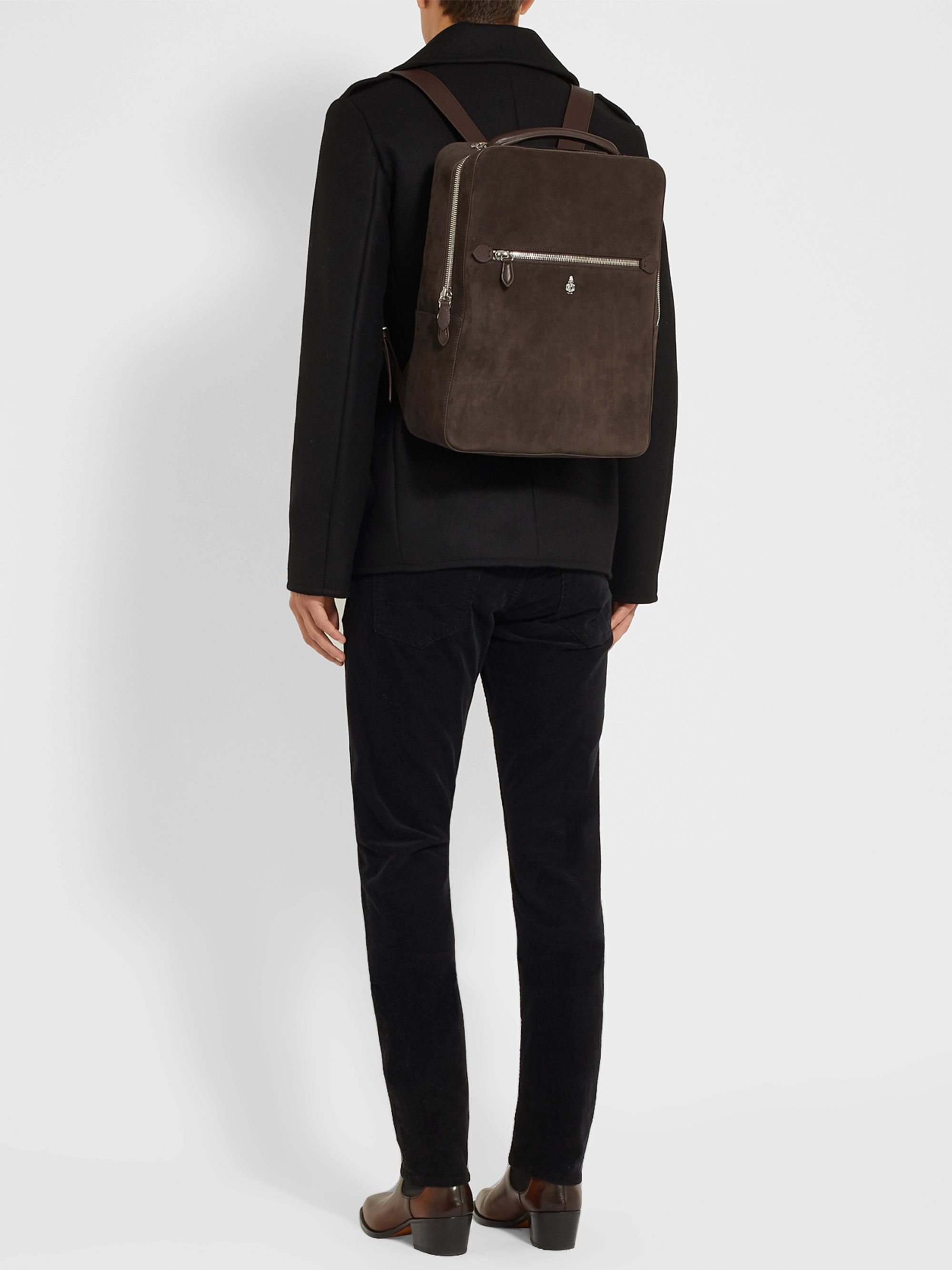 Mark Cross Alexander Leather-Trimmed Suede Backpack