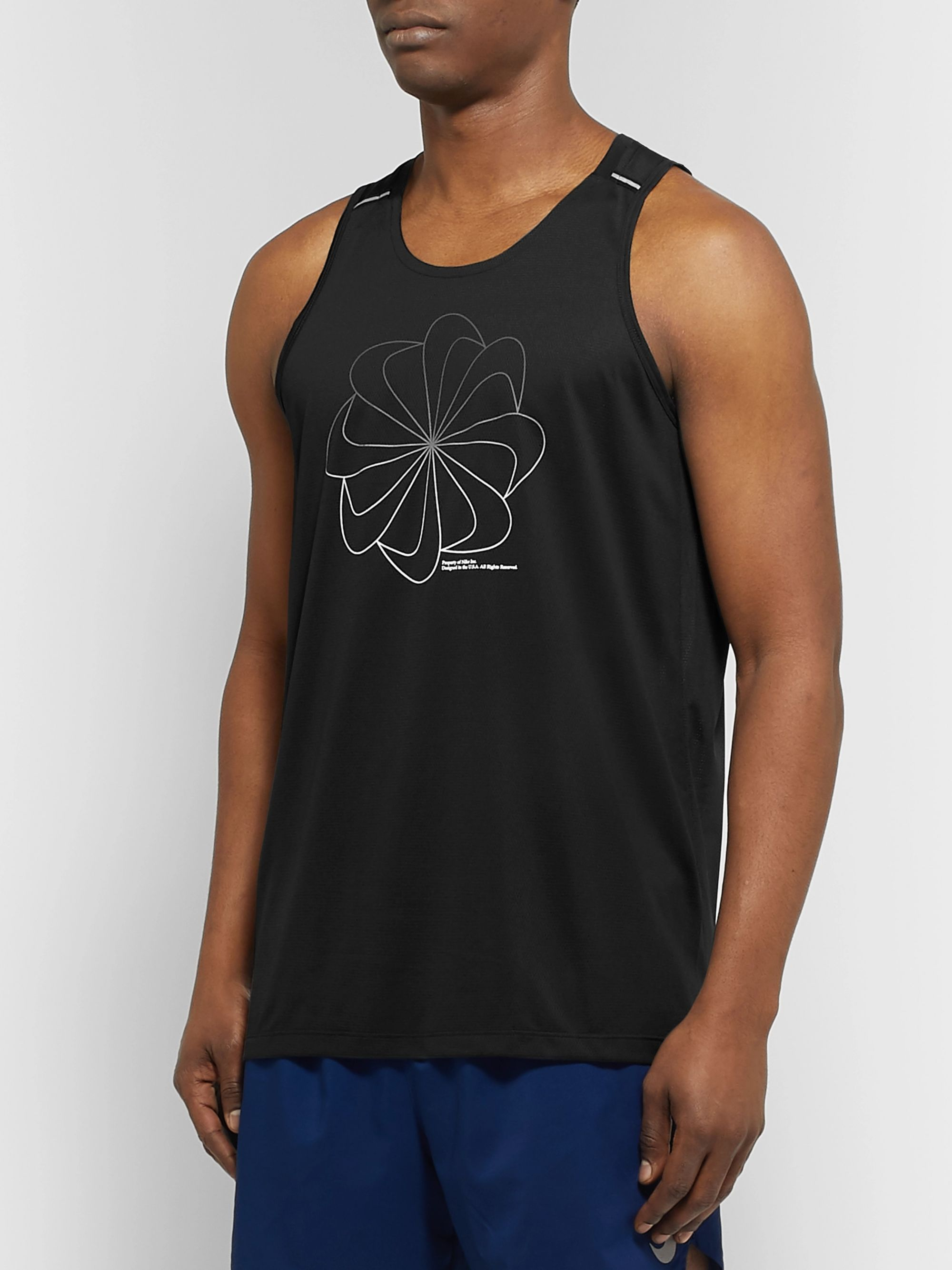 Nike Running Miler Printed Dri-FIT Mesh Tank Top