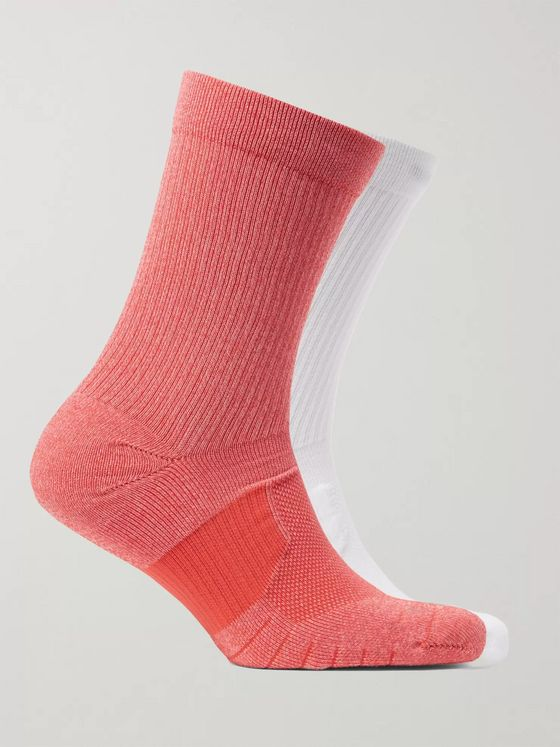 Nike Running Two-Pack Multiplier Logo-Intarsia Dri-FIT Crew Socks