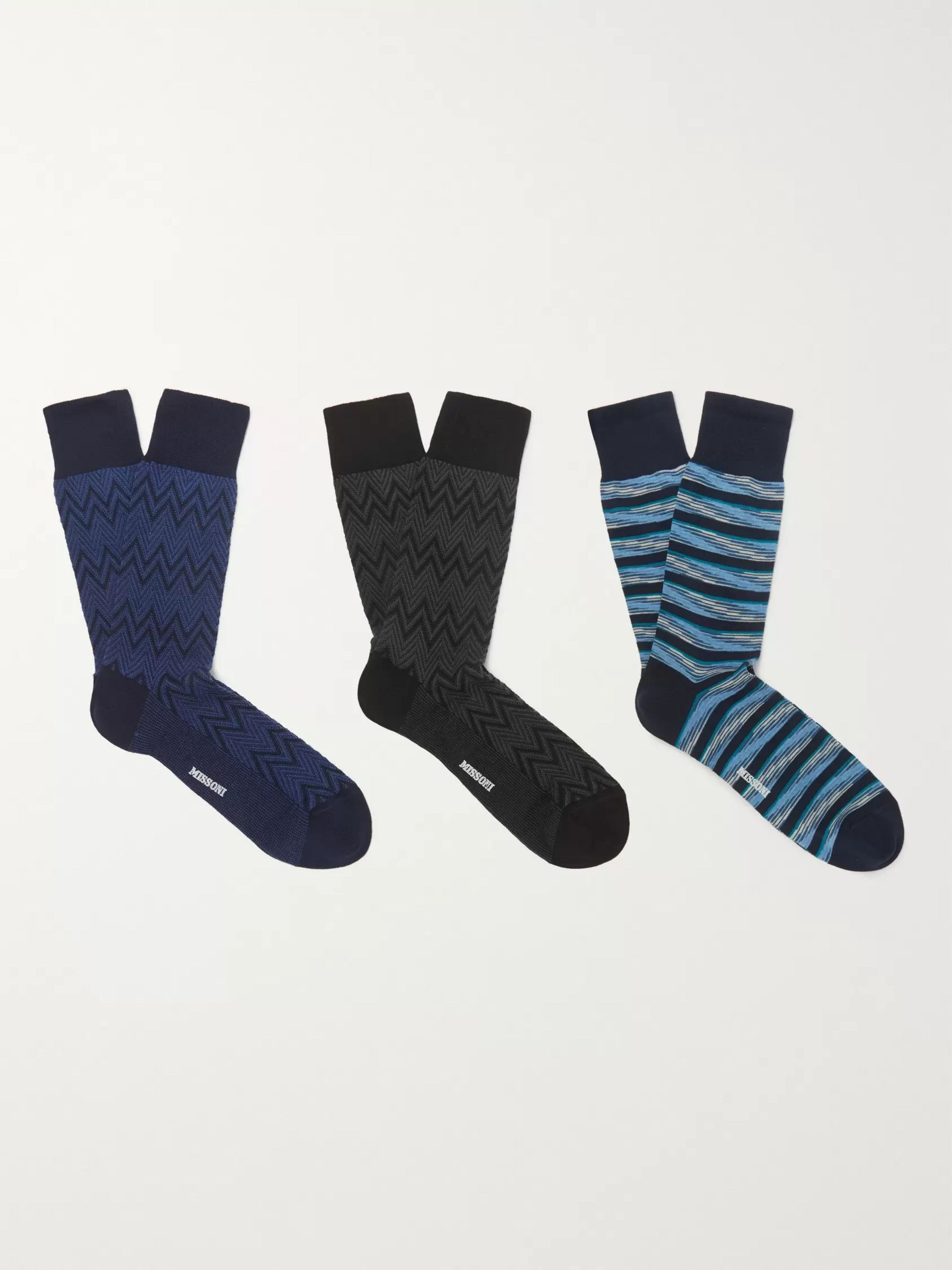 Missoni Three-Pack Cotton-Blend Jacquard Socks