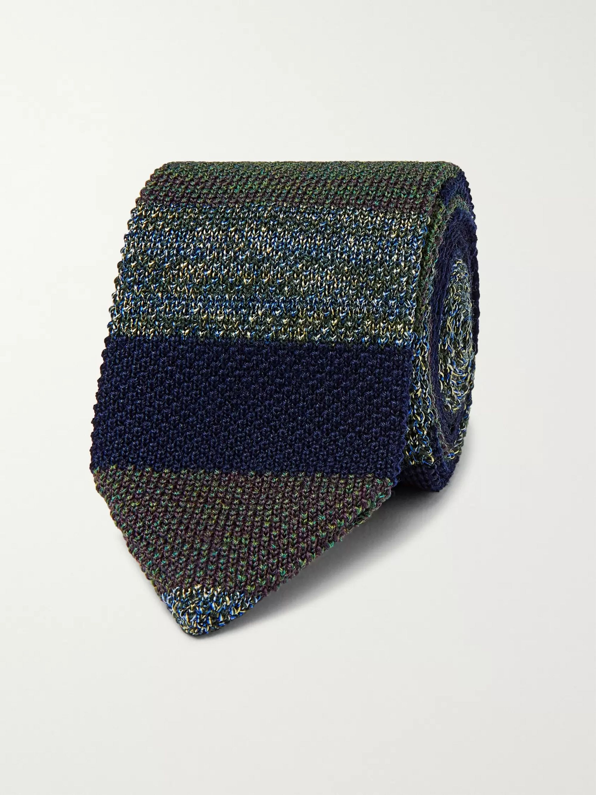 Missoni 6.5cm Striped Crochet-Knit Wool and Silk-Blend Tie