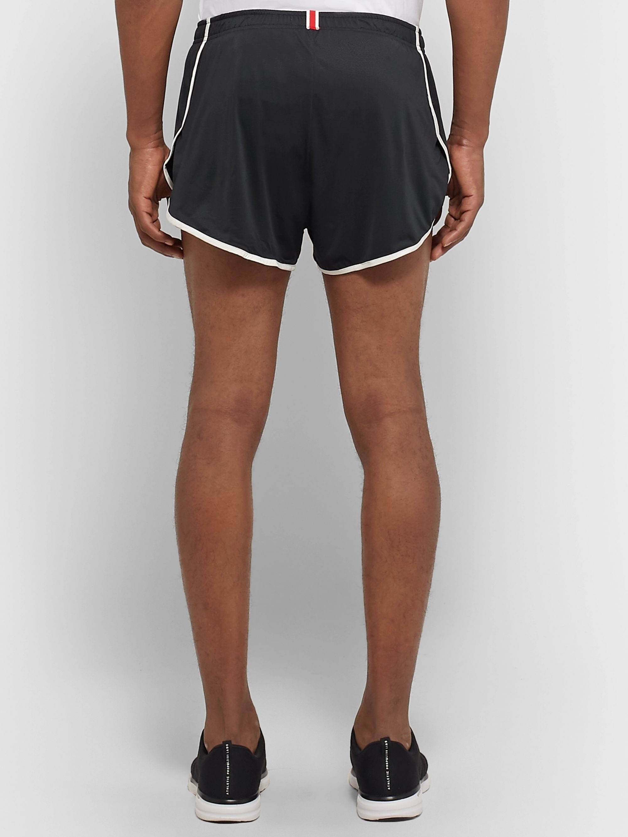 Tracksmith Twilight Split Contrast-Tipped Mesh Shorts