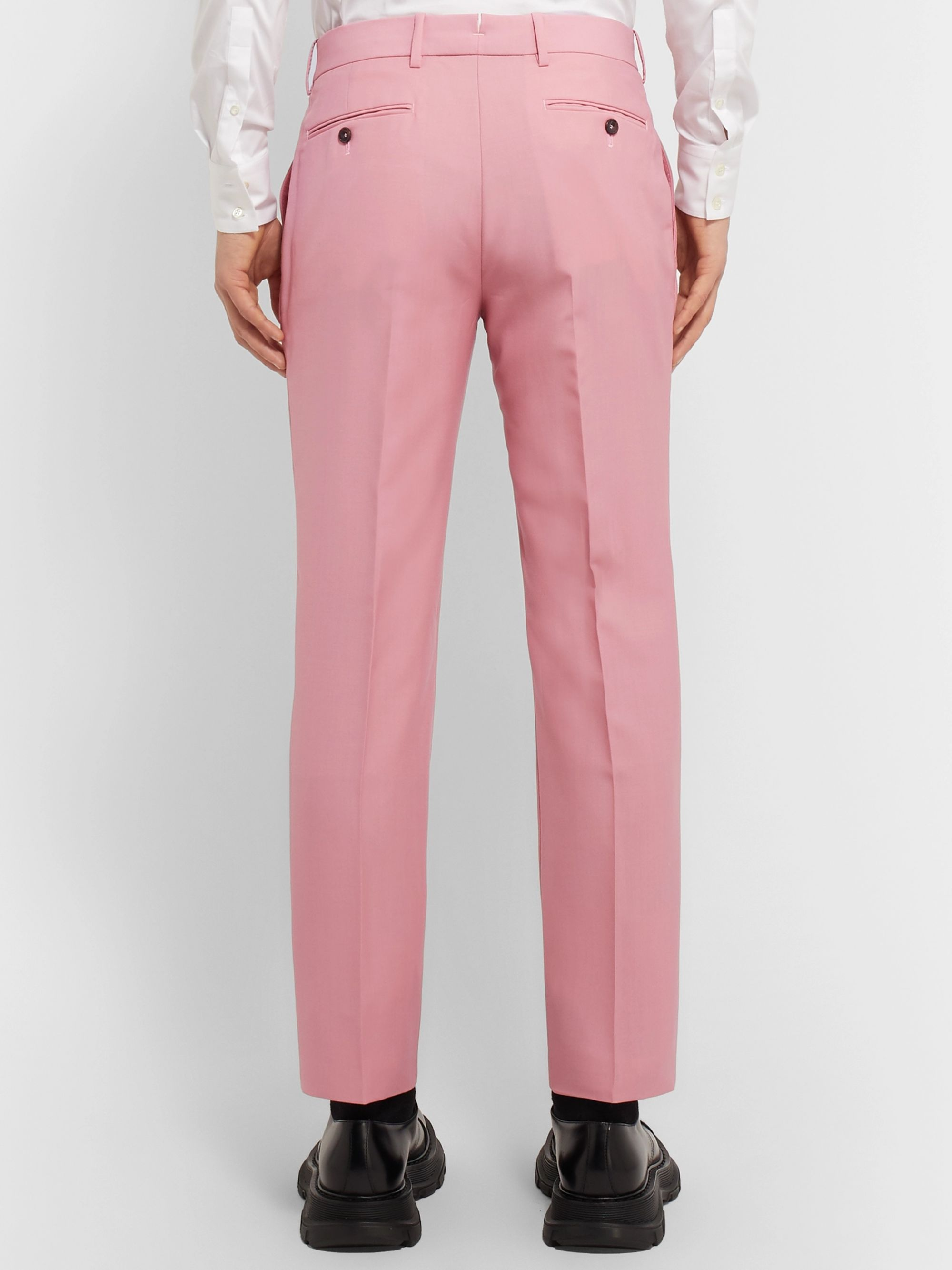 Alexander McQueen Pink Slim-Fit Wool and Mohair-Blend Suit Trousers