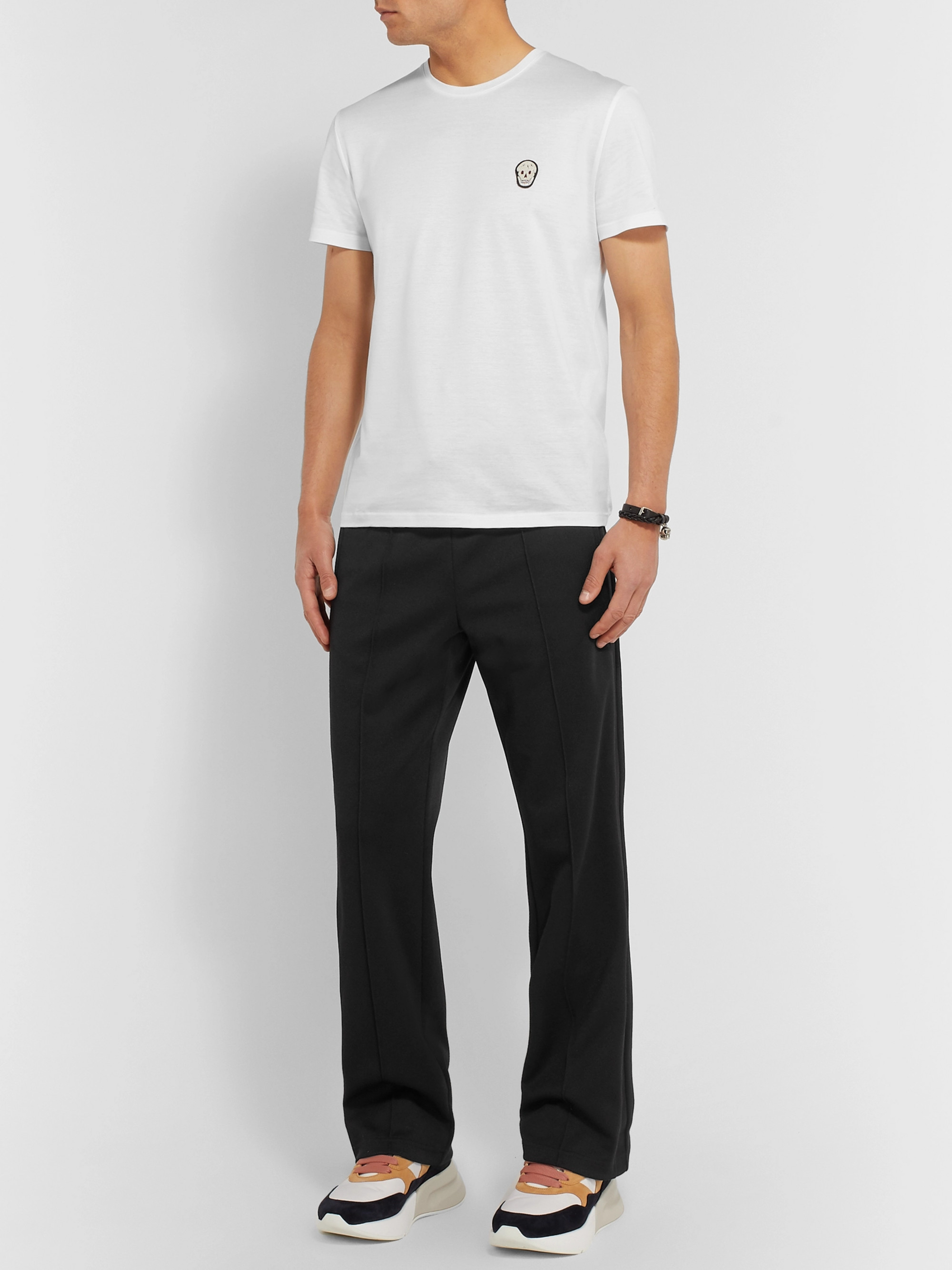 Alexander McQueen Slim-Fit Skull-Embellished Cotton-Jersey T-Shirt