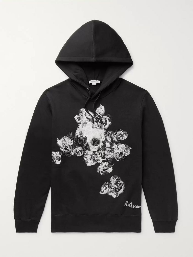 Alexander McQueen Embroidered Fleece-Back Cotton-Jersey Hoodie
