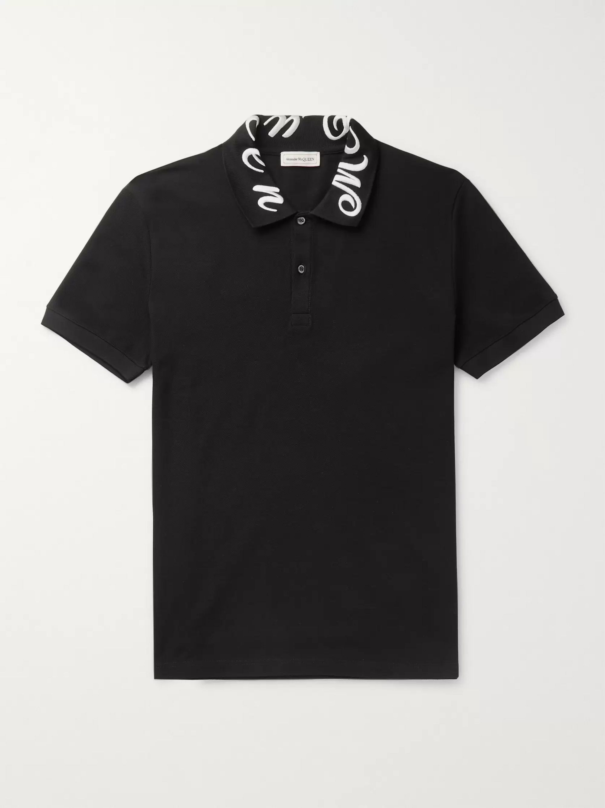 Slim Fit Logo Embroidered Cotton Piqué Polo Shirt by Alexander Mc Queen