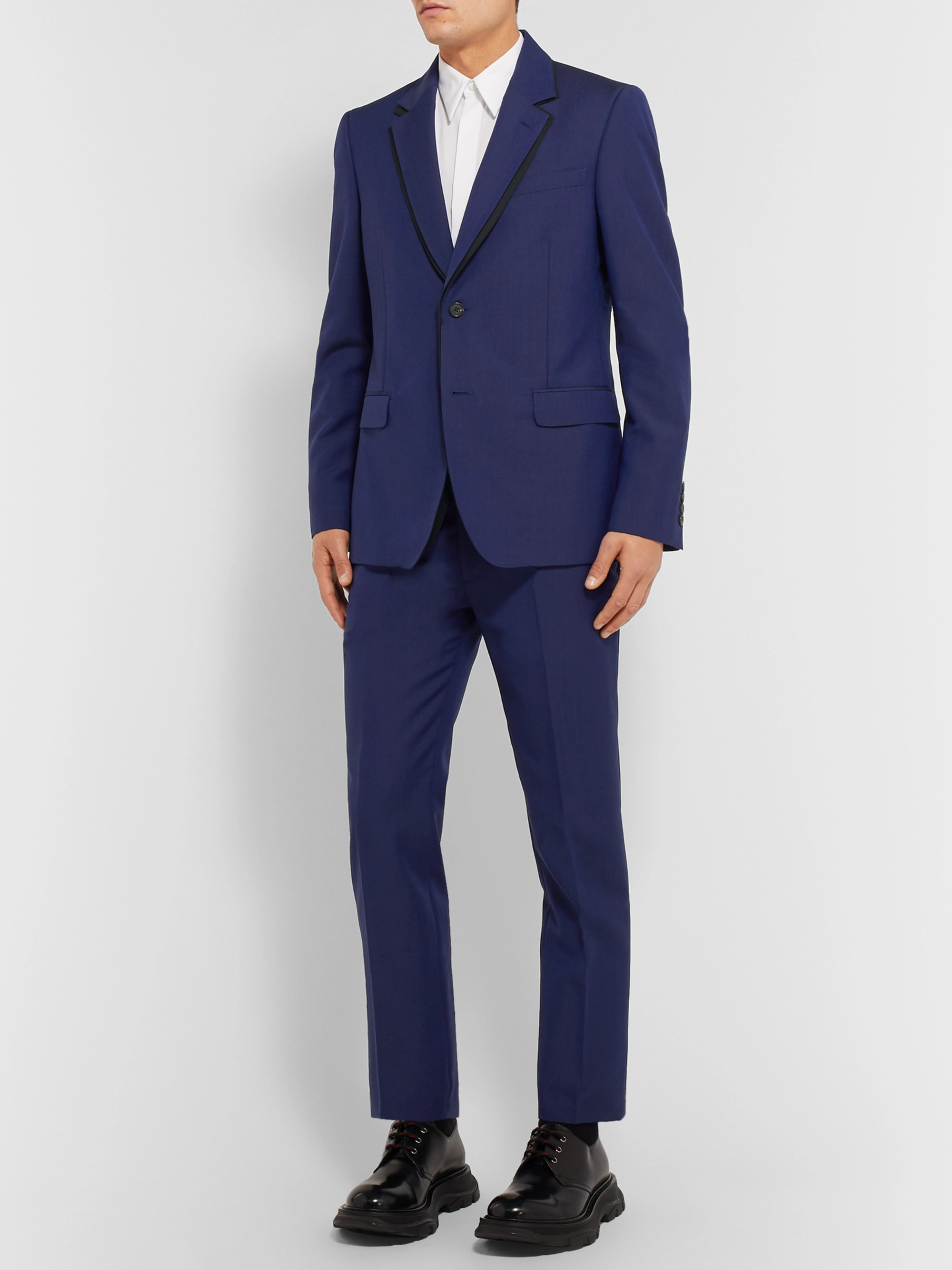 Alexander McQueen Royal-Blue Slim-Fit Wool and Mohair-Blend Suit Jacket
