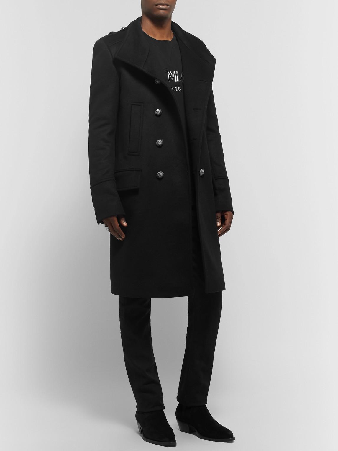Balmain Coats SLIM-FIT DOUBLE-BREASTED CASHMERE COAT