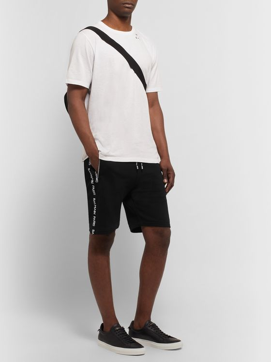 Balmain Slim-Fit Logo-Jacquard Loopback Cotton-Jersey Shorts