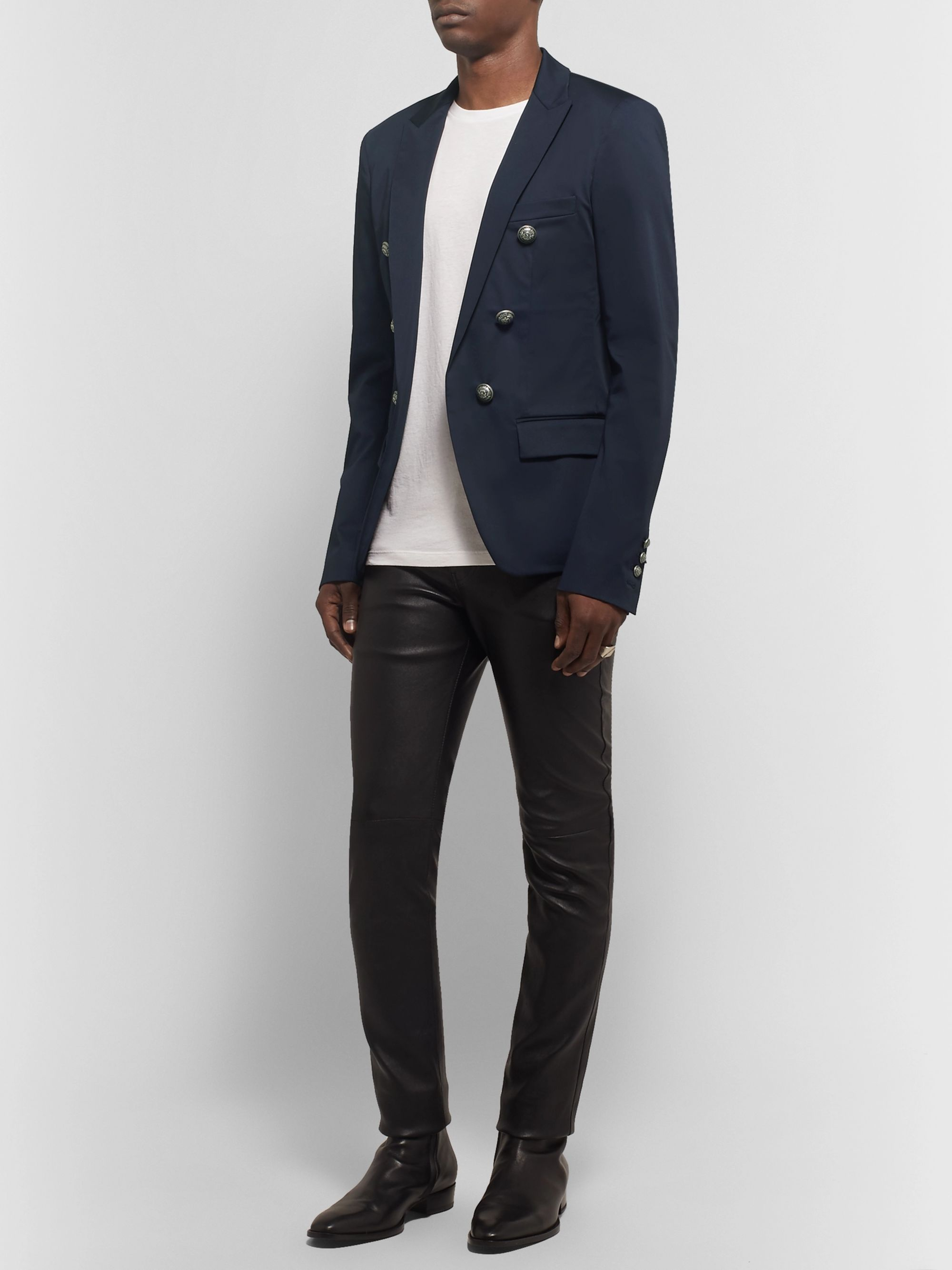 Balmain Midnight-Blue Slim-Fit Double-Breasted Cotton-Blend Blazer
