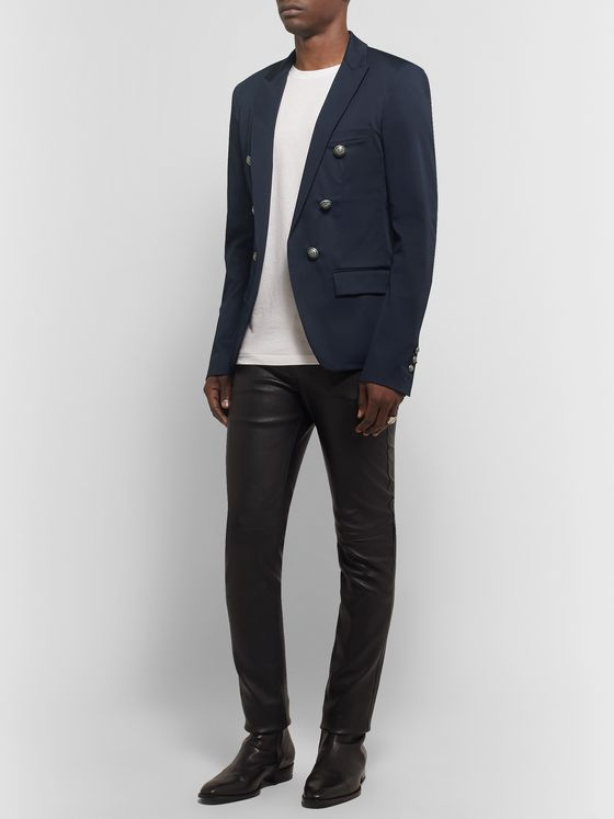 Balmain Midnight-Blue Slim-Fit Cotton-Blend Blazer