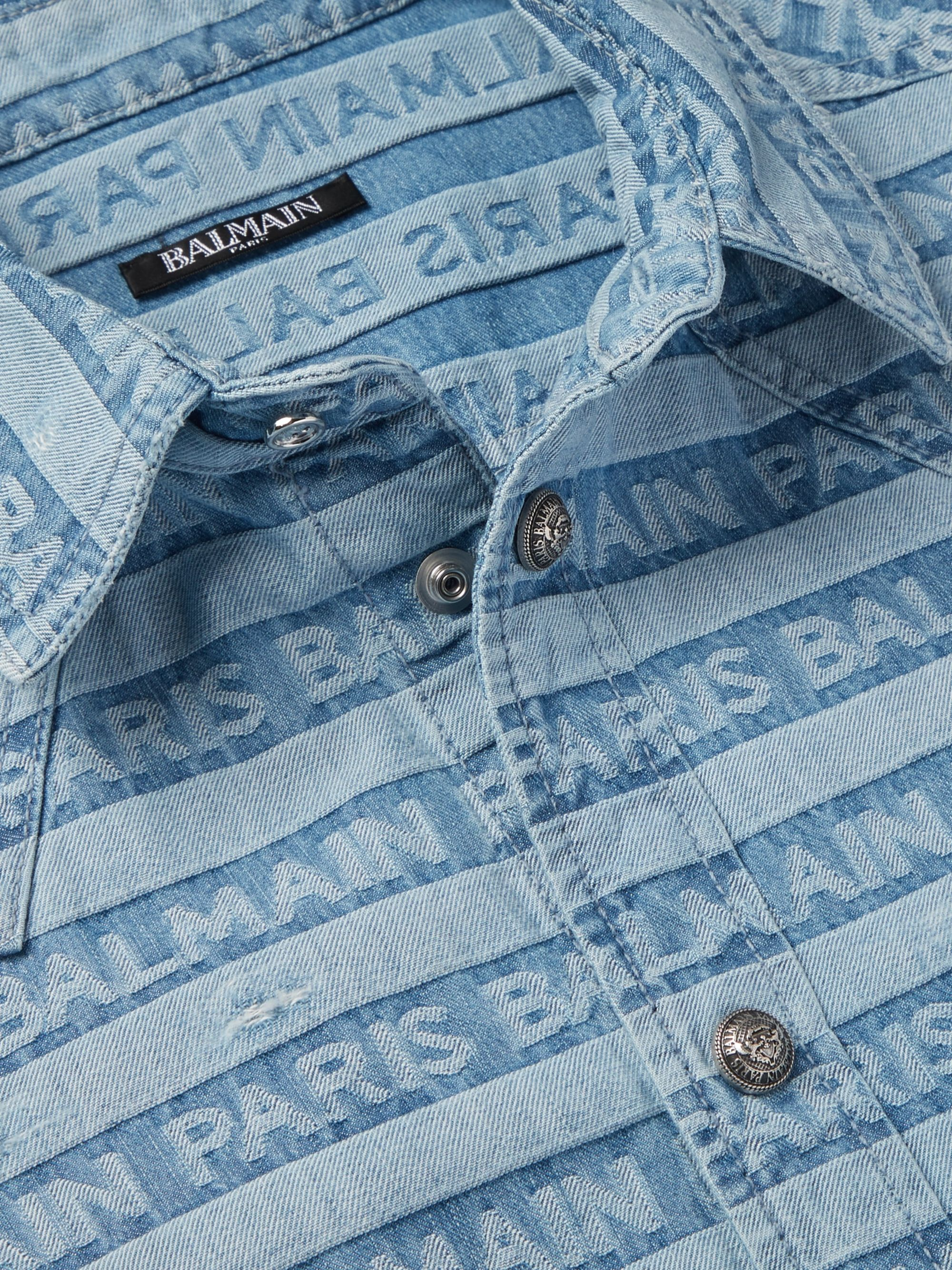 Balmain Slim-Fit Logo-Jacquard Distressed Denim Western Shirt