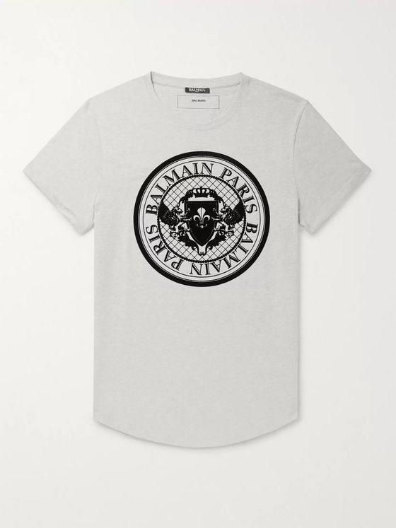 Balmain Slim-Fit Logo-Flocked Mélange Cotton-Jersey T-Shirt