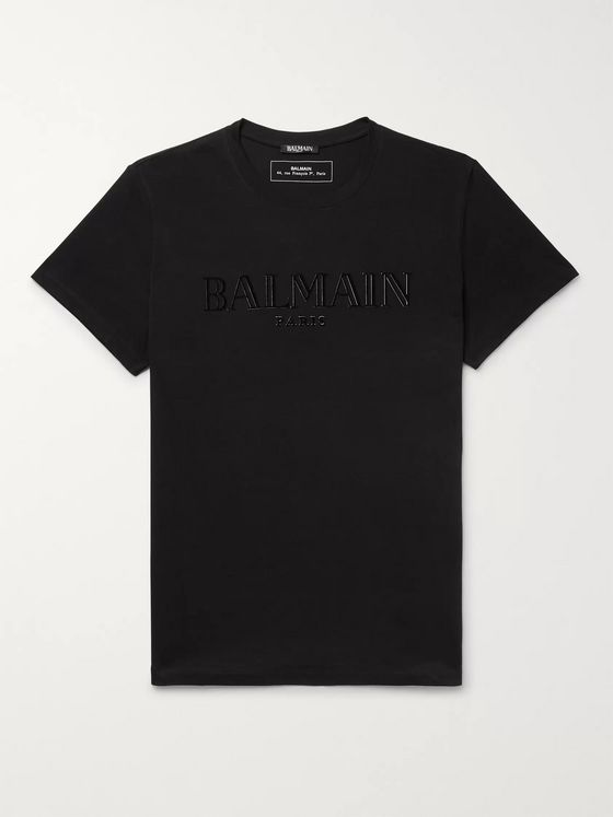 BALMAIN Logo-Appliquéd Cotton-Jersey T-Shirt