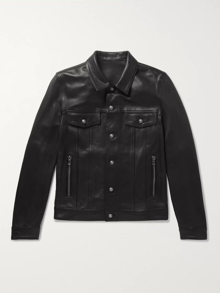 Balmain Logo-Print Leather Jacket