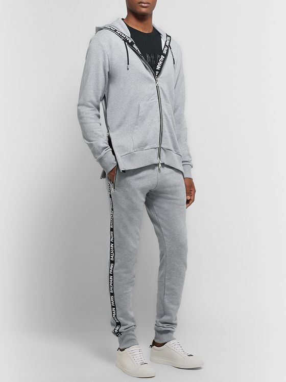Balmain Slim-Fit Tapered Logo-Jacquard Loopback Cotton-Blend Jersey Sweatpants